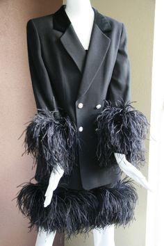 Louis Feraud Wool Cocktail Dress and Jacket Ostrich Trim US Size 8 UK 12 CDN 10