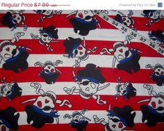Pirate skulls crossbones patch  flannel quilting sewing  fabric 1yd BTY #pirate, #skull, #crossbones, #flannel, #quilt, #sewing, #fabric, #etsy - pinned by pin4etsy.com