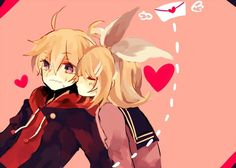 "Rin and Len. One of my favourite couples! Remember,this is Vocaloid.They have the last name ""Kagamine"".Kagamine means ""Mirror Sound"".Rin and Len are actually Mirror Images,but you can choose their relationship like twins,lovers,friends,etc.It depends on the song they're singing.Example: Fire Flower,their relationship is ""Lovers"".Well,I mostly think that their relationship is ""Twins""...^_^"