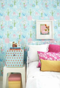 "Majvillan Wallpaper Company brings us this light blue & pink children's wallpaper ""Cherry Valley"" 102-02 where little birds sit on sweet dreams in a valley of flowers Non-Woven Wallpaper (paste the wall) Washable & Eco-Friendly Roll Size: 10m x 53cm Repeat: 53cm Straight Match"