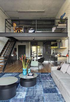 Amazing interior design for modern loft 00055 ~ Home Decoration Inspiration Loft House Design, Home Room Design, Apartment Interior Design, Home Interior, Interior Design Kitchen, Bed Design, Interior Paint, Small Loft Apartments, Loft Apartment Decorating