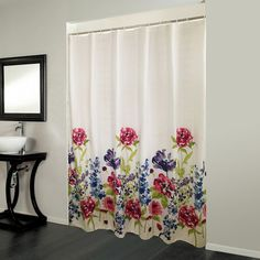Bonita Floral Shower Curtain featuring polyvore home bed & bath bath shower curtains colorful shower curtains cotton shower curtains floral shower curtains flowered shower curtains