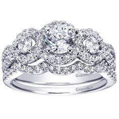 1.80cttw 3-Stone Halo Diamond Engagement Ring with Pave Diamond Frame