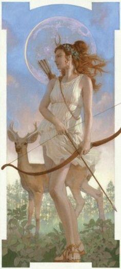 Artemis by Tsuyoshi Nagano Artemis is the Greek Goddess of the hunt, maidens and the moon Artemis Goddess, Moon Goddess, Artemis Art, Greek Goddess Art, Fantasy Kunst, Fantasy Art, Potnia Theron, Rome Antique, Greek Gods And Goddesses