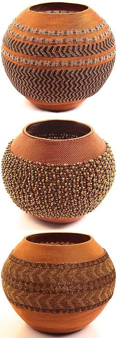 Southern Africa | Wire and glass bead basket from KwaZulu Natal, South Africa. These pot-shaped baskets are created only by masterweavers.