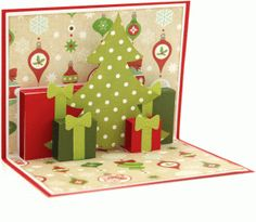 a2 christmas scene pop up card