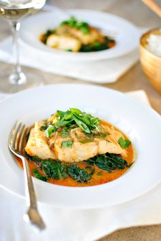 Thai Coconut Curry Poached Barramundi With Sautéed Spinach Coconut Curry Poached Barramundi Sauteed Spinach Fish Recipes, Seafood Recipes, Asian Recipes, Vegetarian Recipes, Dinner Recipes, Cooking Recipes, Healthy Recipes, Fish Dishes, Seafood Dishes