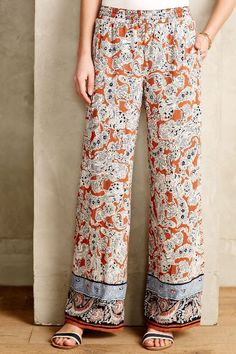 Lalasa Paisley Wide-Legs - anthropologie.com