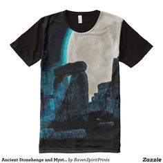 Ancient Stonehenge and Mystical Moon All-Over Print T-shirt