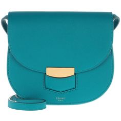 Céline Shoulder Bag - Small Tredteur Crossbody Teal Blue - in green,... (2,490 BAM) ❤ liked on Polyvore featuring bags, handbags, shoulder bags, blue purse, blue crossbody purse, blue shoulder bag, evening purses and green crossbody