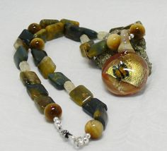 Handmade Lampwork Pendant, Golden Butterfly Image, Office Wear, 19 inch length, Tiger eye and Citrine Beads, Sterling Silver Clasp by ElysiumUniqueJewelry on Etsy
