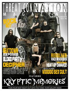 TCNM Issue14  Kryptic Memories, Beatdown Exposed, Revolver, Blood Party, Decipher, Heat Of Damage, Voodoo Sex Cult, Rock Is Not Dead, That Metal Chick, Ask Hellen Back Free Rocks, Music Journal, Revolver, Voodoo, Blood, Memories, Metal, Party, Movie Posters