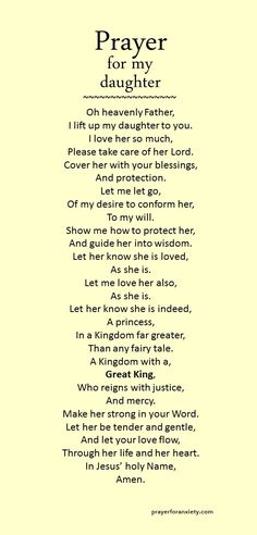 A prayer for my daughter--soon to be a wife