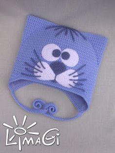 Artesanato em croche: Touca, gorros em croche de bichinhos.Душ ШАПКУ, шапочки крючком домашние животные