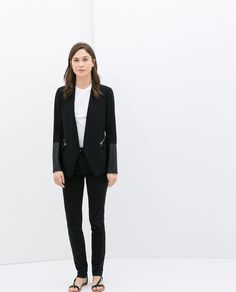 Image 1 of COMBINED FAUX LEATHER BLAZER from Zara