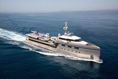YS 7512 is a new Yacht Support vessel by Damen. The ship has a helicopter hangar and additional tenders. Big Yachts, Super Yachts, Luxury Yachts, Yacht Design, Boat Design, Amel Yachts, Explorer Yacht, Airbus Helicopters, Yacht Builders