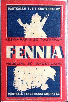 vanha tulitikkuaskin etiketti. teksti: fennia. keskimäärin  50 tulitikkua. medeltal 50 tändstickor. mäntsälä tändstickfabriks ab.