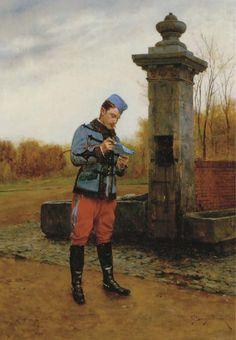 Carta de casa, 1905  Étienne-Prosper Berne-Bellecour (França, 1838-1910)  óleo sobre madeira, 37 x 25 cm  Em leilão Cristie´s — 2005
