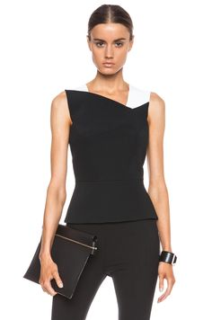 Roland Mouret Sigara Lotus Embossed Jacquard Viscose-Blend Top in Black | FWRD