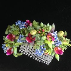 botanical hairpiece with muscari, orchids, succulemts and texture, Francoise Weeks