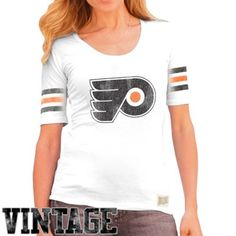 "Original Retro Brand Philadelphia Flyers Ladies 3-Stripe Primary Logo Scoop T-Shirt - White. ""My #NHL Wish List Sweeps"""
