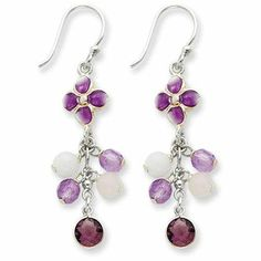 """""""I'm ready for summer,"""" these earrings say. Featuring an orchid shade, one of the fashion colors of 2014, the Sterling Silver Amethyst/Jade/Rose Quartz/CZ/Enameled Flower Earrings (QE1325) accessorize your latest fashion trends. Show off with your hair up in a bunin a loose ponytail.    Specs:  Enamel 