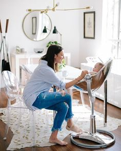 "Catherine Sheppard on Instagram: ""Being design conscious and having a baby don't always mix, but I've made it my mission to find the baby products that don't hurt my eyes while still being practical (and I plan to share all my favorites with you guys of course). This @bloomglobal fresco chrome high chair is everything."