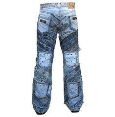 Hardcore unique handmade rocker denim rivets jeans pant pants and jeans 4 Vetement Hip Hop, Diy Vetement, Shoes With Jeans, Jeans Pants, Harley Davidson, Diy Kleidung, Recycle Jeans, Diy Jeans, Denim Ideas