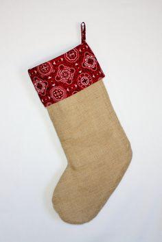 Red Bandana Burlap Christmas Stocking Hand by ImpulsiveCreativity
