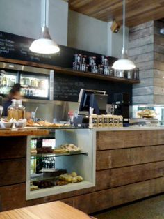 Liking this idea more and more businesses coffee shop counter, cafe coun Bakery Cafe, Cafe Bar, Cafe Bistro, Cafe Shop, Coffee Shop Counter, Cafe Counter, My Coffee Shop, Coffee Shop Design, Coffee Shops