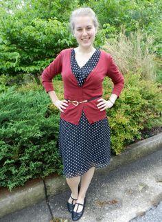 polka dot dress and red cardigan