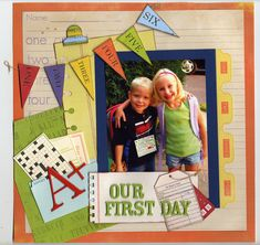 Learning to scrapbook will take some commitment and it is really like a piece of art. When you learn the techniques to scrapbook you will be able to enjoy, School Scrapbook Layouts, Kids Scrapbook, Scrapbook Sketches, Scrapbook Paper Crafts, Scrapbook Cards, Scrapbooking Ideas, 1st Day Of School, School Days, Graduation Scrapbook