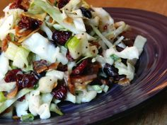 Sweet Slaw Salad with Cabbage, apples, almonds, cranberries, green onions and bacon....and poppyseed dressing...wow
