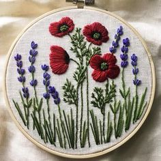 Rainy day here Poppies and lavender on a 6 hoop. Rainy day here Poppies and lavender on a 6 Embroidery Flowers Pattern, Hand Embroidery Stitches, Silk Ribbon Embroidery, Embroidery Hoop Art, Crewel Embroidery, Hand Embroidery Designs, Embroidery Techniques, Cross Stitch Embroidery, Broderie Simple