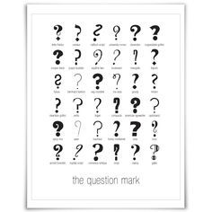 36 Question Marks - Art Print - Punctuation Typography Poster. $17.00, via Etsy.
