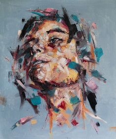 """Ich will ein Garten sein"" - Davide Cambria, oil on canvas {contemporary figurative #expressionist art female head grunge woman face portrait painting}"