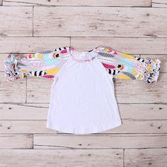 Baby Girls Ruffle Clothing Sets Pink Arrow Printed Ruffle Shirts Wholesale Icing Raglan Shirts