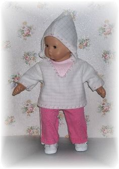 Doll clothes. Pull on knit pants, sleeveless tshirt and hooded pullover for Bitty Baby..