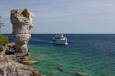 Glass Bottom Boat Cruise to Flowerpot Island in Tobermory Ontario aboard the Blue Heron Tobermory Ontario, Flowerpot Island, Glass Bottom Boat, Island Cruises, Island Tour, Blue Heron, Boat Tours, Flower Pots, Vacation