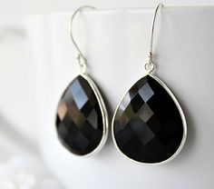 Medium Black Onyx Dangle Earrings 925 Sterling Silver by ByGerene, $56.00