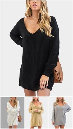 Oversized Plunging V-neck Knit Sweater Dress US$14.99