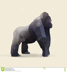 Illustration about Gorilla, polygonal geometric animal illustration, vector. Illustration of background, wildlife, poly - 73246332 Geometric Gorilla Tattoo, Geometric Art, Logo Inspiration, Animal Drawings, Cool Artwork, Mammals, Monkey, Lion Sculpture, Service Learning