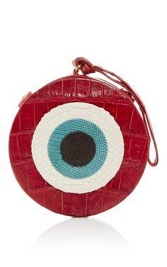 M'O Exclusive: Red Crocodile Evil Eye Clutch by Hunting Season for Preorder on Moda Operandi