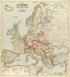 """""""Europe Showing Countries as Established by the Peace Conference at Paris. Vintage Maps, Vintage Wall Art, National Geographic Maps, Library Pictures, Map Tattoos, Map Globe, Images And Words, Fantasy Map, Alternate History"""