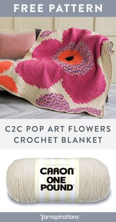 Free C2C Pop Art Flowers Crochet Blanket pattern using Caron One Pound Yarn. Done in the popular corner-to-corner double crochet block technique, this crochet blanket really packs a punch of color! Follow the chart provided as you work in double crochet, chain, color changes and intarsia techniques. It's a great spring project for the home! #Yarnspirations #FreeCrochetPattern #CrochetAfghan #CrochetThrow #CrochetBlanket #CornerToCorner #CrochetFlower #CaronYarn #CaronOnePound