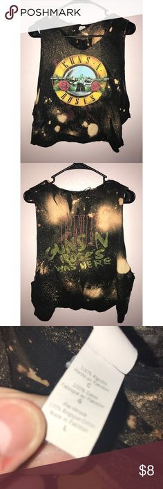 Guns n Roses bleached Cut Off Shirt This used to be a regular Guns n Roses Tshirt.. but I decided to cut it into a cut off & spray bleach on it to make it look cooler! I find clothes like this super cute! It says a Large but definitely will fit smaller since it's cut! Hot Topic Tops Tank Tops