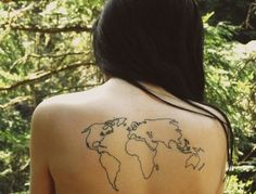 world map back tattoo - 25 Awesome Map Tattoos  <3 <3