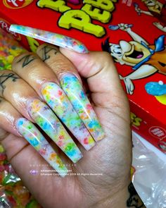 """💅💖Book your next nail service - - 🍇🍓🥛""""Fruity Pebbles""""🥣🍏🍍 by Pamper Artist Morningstar ( Drip Nails, Bling Acrylic Nails, Aycrlic Nails, Hot Nails, Best Acrylic Nails, Blue Nails, Dope Nail Designs, Acrylic Nail Designs, Broken Nails"""