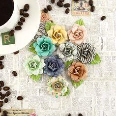 Prima - Coffee Break Collection - Flower Embellishments - Cappuccino at Scrapbook.com