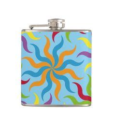 Coloridas formas patrón abstracto flores hip flask. Regalos, Gifts. #bottle #botella